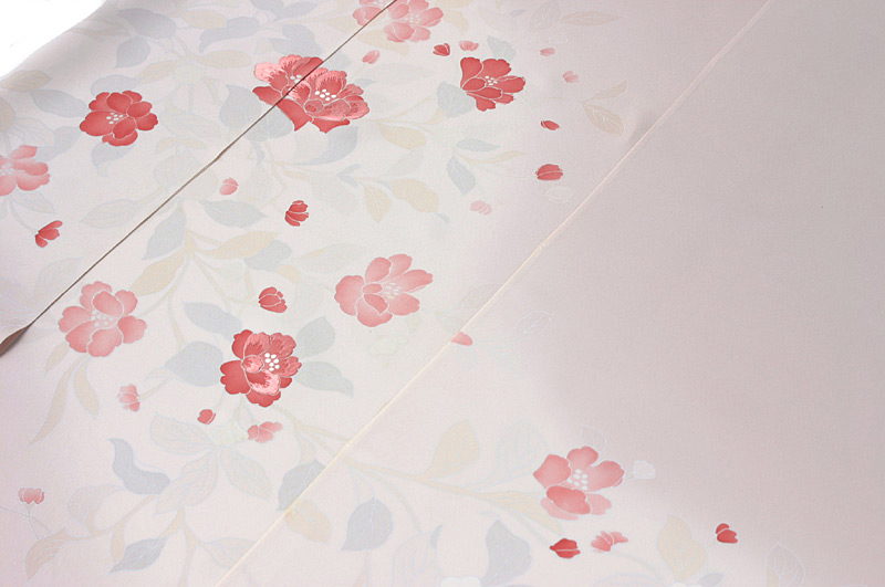 藍白〈あいじろ〉色四季の花と宝尽くし柄付け下げ ��13×164
