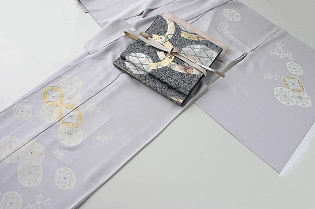紫水晶(むらさきすいしょう)色地七宝柄訪問着��12-041+となみ帯 引粉織 袋帯