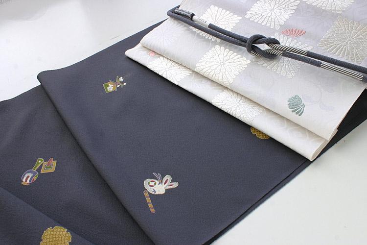 紺地小紋 【絹100%】+ 白地しゃれ袋帯