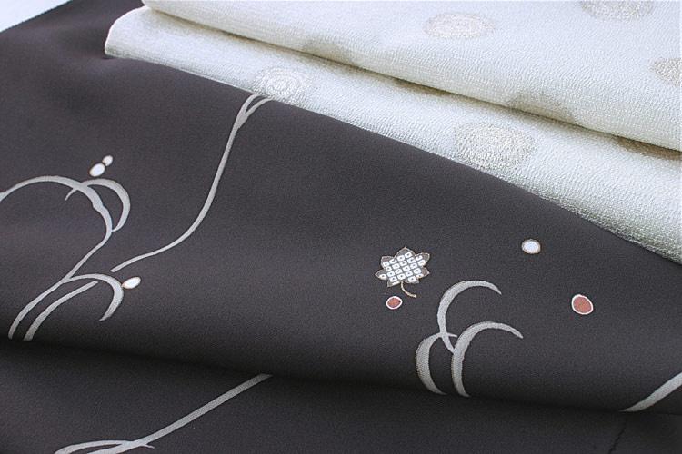 つる草柄 小紋 焦げ茶色地+銀地袋帯