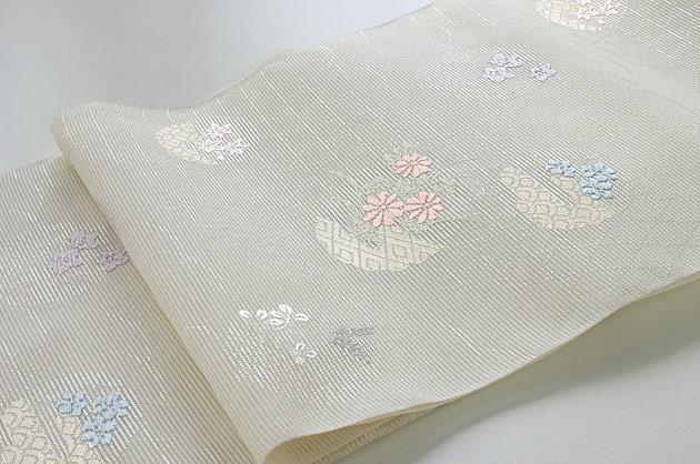 象牙色絽名古屋帯【絹100%】…単衣・盛夏用…