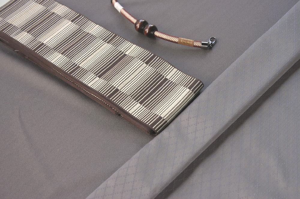 米沢きものと羽織(桑茶色)のセット