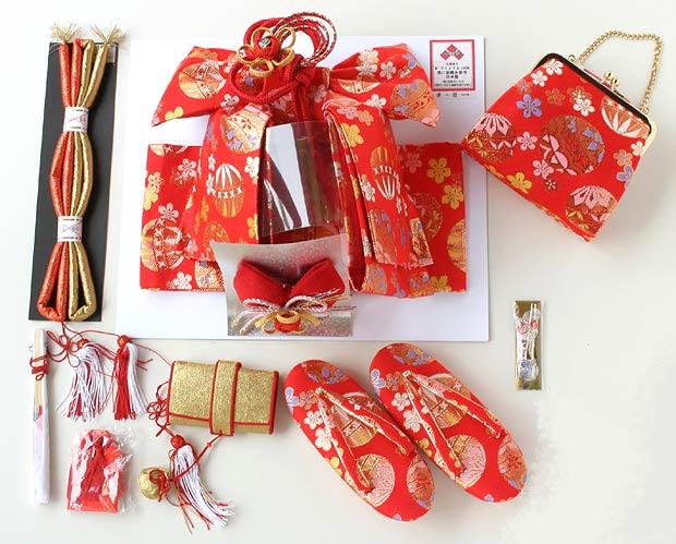 結び帯〈七五三祝い帯〉髪飾り付き&ハコセコセット